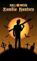 caçador de zumbis de halloween com foguete rpg no cemitério vetor