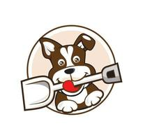 filhote de cachorro segurando o logotipo do desenho animado vetor