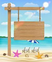 pendurar placa de madeira na praia do mar com cadeira relaxante vetor