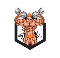 ilustração de projeto de um construtor de corpo de homem vetor