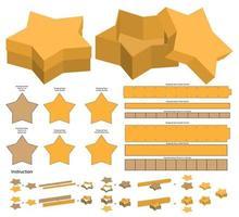design de modelo cortado em formato de estrela em forma de caixa vetor