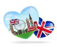 amo o logotipo da forma de coração da inglaterra com a bandeira da inglaterra vetor