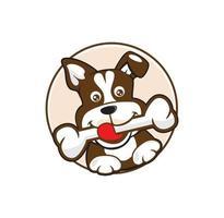 filhote de cachorro segurando desenho de logotipo de osso vetor