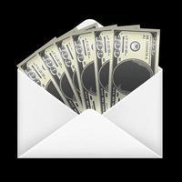 Dinheiro de notas de 100 dólares dentro de envelope branco vetor