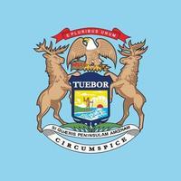 brasão do estado de michigan, desenho da bandeira de michigan vetor