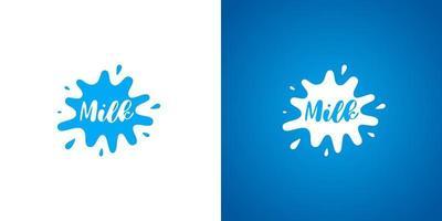 logotipo do produto de leite de vaca. design de logotipo de identidade de marca lática natural fresco. sinal de respingo de leite para ilustrações de eps de marca comercial vetor