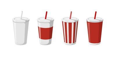 modelos de copo de bebida de papel descartável definidos para refrigerante com canudo. 3D em branco branco grande papelão listrado vermelho refrigerantes coleção de embalagens vetor ilustração plana