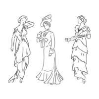 senhora vestida de antiguidades. ilustração vetorial de moda antiga. mulher vitoriana em vestido histórico. desenho estilizado vintage, estilo retro da xilogravura. vestido retrô, desenho vetorial sobre fundo branco vetor