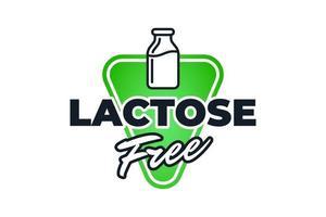 rótulo verde sem lactose para ícone de controle de dieta. ingrediente vegetariano crachá de alimentos lácteos saudáveis orgânicos. ilustração em vetor natural sem leite produto ecológico eps