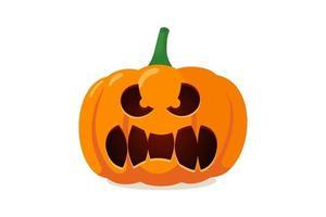 engraçado assustador sorriso assustador abóbora jack o lanterna com dentes assustadores. símbolo da decoração tradicional da celebração do feriado do feliz dia das bruxas. ilustração vetorial isolada no fundo branco vetor