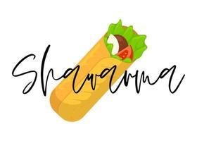 rolo de carne de fast-food shawarma com inscrição de letras. refeição tostada doner kebab oriental árabe. desenho animado shaurma ou ilustração em vetor burrito plana