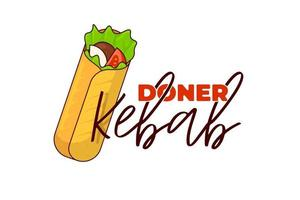 doner kebab fast food carne roll com modelo de design de símbolo de publicidade de menu de restaurante de inscrição. refeição de shawarma tostada oriental árabe. ilustração em vetor plana shaurma ou burrito business emblem