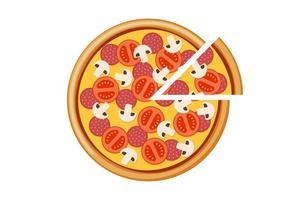 pizza com salame de cogumelos de tomate e fatias de queijo. refeição italiana fast food isolada ilustração plana eps de vetor