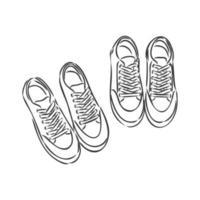 par de tênis em fundo branco desenhado em um estilo de desenho. tênis pendurados em um pino. ilustração vetorial. desenho vetorial de tênis em um fundo branco vetor
