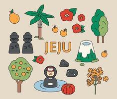 símbolos e ícones da ilha de Jeju. delinear ilustração vetorial simples. vetor