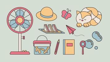 itens de memórias das férias de verão como uma criança. delinear ilustração vetorial simples. vetor