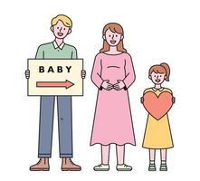 um pai segurando um piquete uma mãe grávida uma criança segurando um coração. ilustração em vetor mínimo estilo design plano.