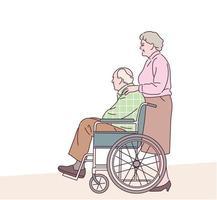 um velho em uma cadeira de rodas e uma velha parada atrás dele. mão desenhada estilo ilustrações vetoriais. vetor