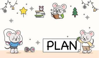 um personagem fofo de rato planejando um dia difícil. mão desenhada estilo ilustrações vetoriais. vetor