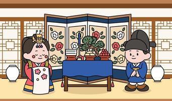 personagens de noivos celebrando uma cerimônia de casamento tradicional coreana. mão desenhada estilo ilustrações vetoriais. vetor
