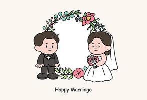 noivos casal personagens em vestidos de noiva. mão desenhada estilo ilustrações vetoriais. vetor