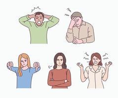 pessoas que expressam várias emoções negativas. pessoas de vários gestos. mão desenhada estilo ilustrações vetoriais. vetor