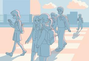 ao pôr do sol, os alunos saem da escola e vão para casa. mão desenhada estilo ilustrações vetoriais. vetor