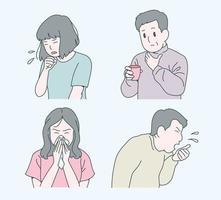 pessoas com resfriados estão tossindo e espirrando. mão desenhada estilo ilustrações vetoriais. vetor
