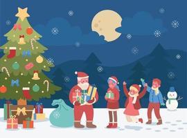 em um dia de neve, sob a grande árvore de natal, o papai noel distribui presentes para as crianças. mão desenhada estilo ilustrações vetoriais. vetor