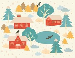 a paisagem da aldeia em um dia de neve. mão desenhada estilo ilustrações vetoriais. vetor