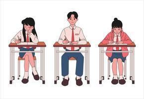 os alunos estão sentados em suas carteiras e tendo aulas. mão desenhada estilo ilustrações vetoriais. vetor