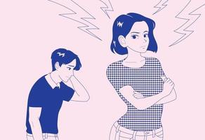 a namorada está com raiva e o namorado está se desculpando. mão desenhada estilo ilustrações vetoriais. vetor