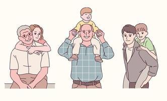 avô, pai, neto e neta estão se divertindo. mão desenhada estilo ilustrações vetoriais. vetor