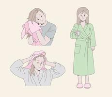 uma garota está secando o cabelo com uma toalha. uma garota está usando um roupão de banho. mão desenhada estilo ilustrações vetoriais. vetor