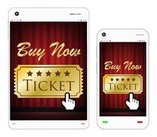 smartphone e tablet com ingresso de cinema na tela vetor