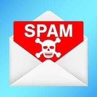 envelope branco com e-mail de spam dentro vetor