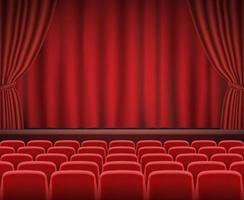 filas de assentos vermelhos de cinema ou teatro em frente ao palco do show vetor