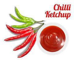 molho de ketchup de pimenta no prato com pimenta vetor