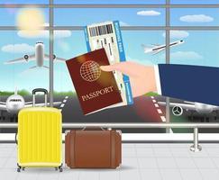 mão segura o passaporte e o cartão de embarque no aeroporto vetor
