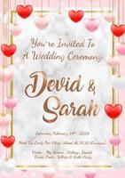 amostra de modelo de convite de cartão de casamento eps vetor