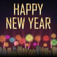 feliz ano novo com fogos de artifício no fundo da cidade vetor