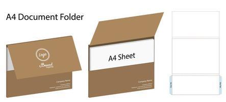 paisagem maquete de pasta de documentos a4 com dieline vetor