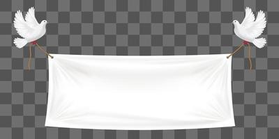 pano de fundo de banners de vinil com pombas e cordas brancas vetor