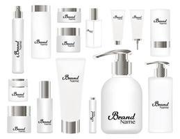 tubos cosméticos em fundo branco. cores branco e prata vetor