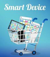 dispositivo inteligente com smartphone e tablet em um carrinho de compras vetor