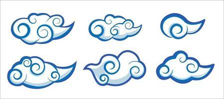 conjunto de nuvens em vetor de estilo asiático