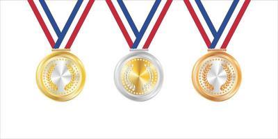 emblemas de ouro prata e bronze vetor
