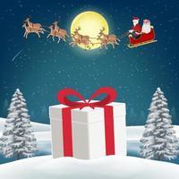 caixa de presente na neve com papai noel e renas vetor