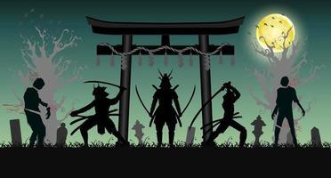 samurai ataca zumbi com portão de templo em estilo japonês vetor
