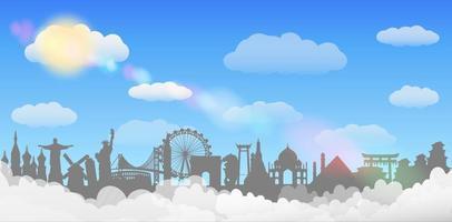 conceito de viagens do fundo do céu da nuvem do ponto de referência mundial vetor